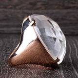 The Bold Mother of Pearl and Quartz Ring