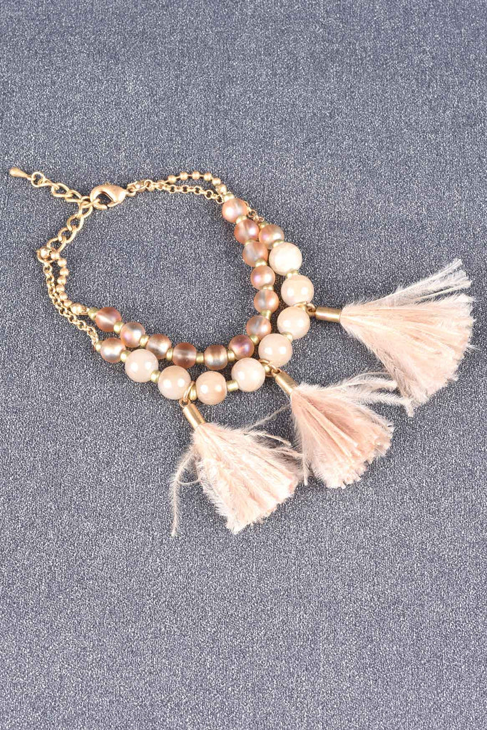 Set of 3 Fun Feather and Bead Bracelets