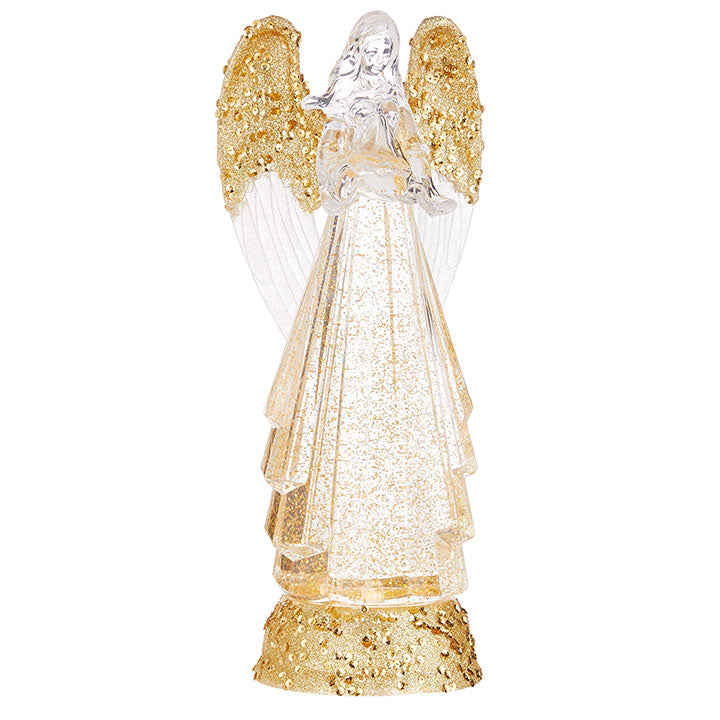 Lighted Angel with Gold Swirling Glitter