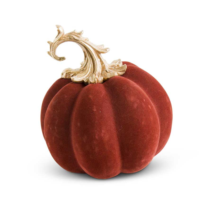 "9.5"" Velvet Pumpkin w/Gold Filigree Stem"