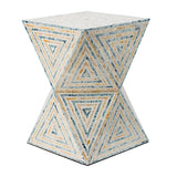 Geometric Hourglass Shape Capiz Stool