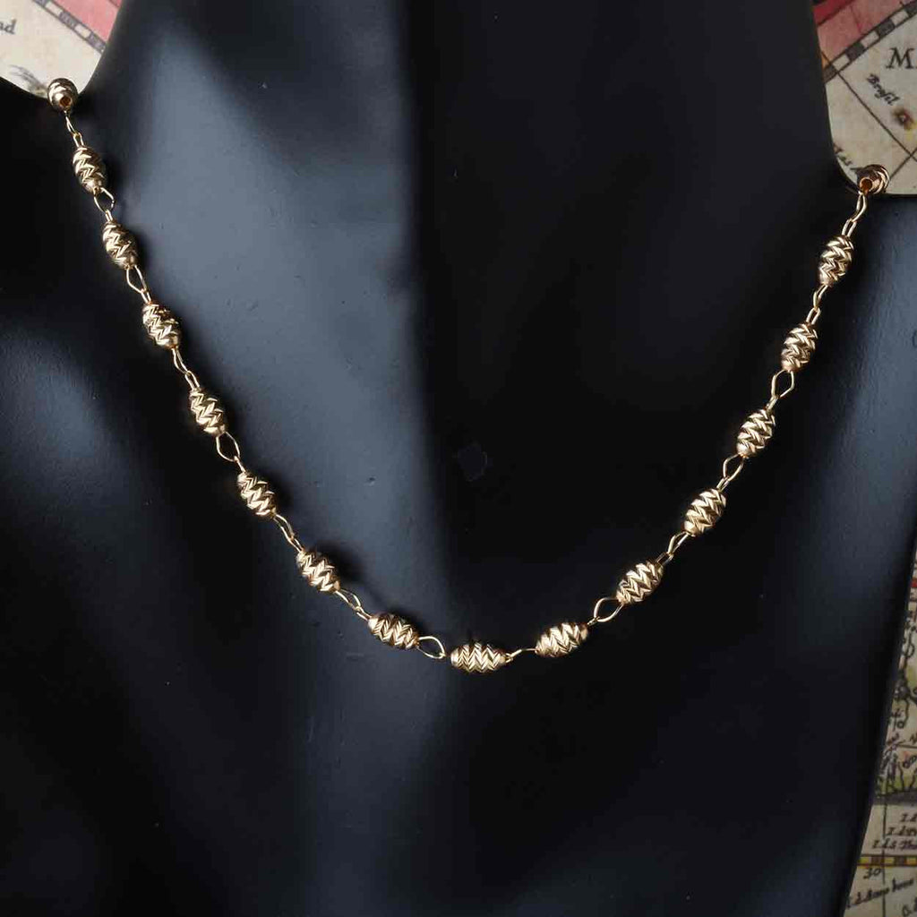 Diamond Cut Oval Bead Necklace