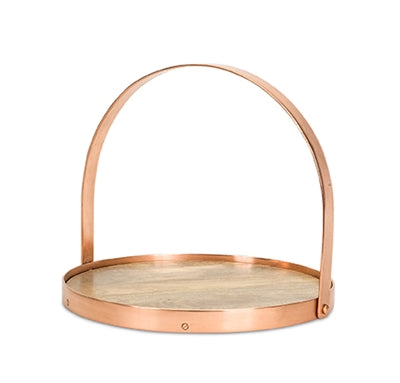 Wood Tray With Copper Color Trim and Handle
