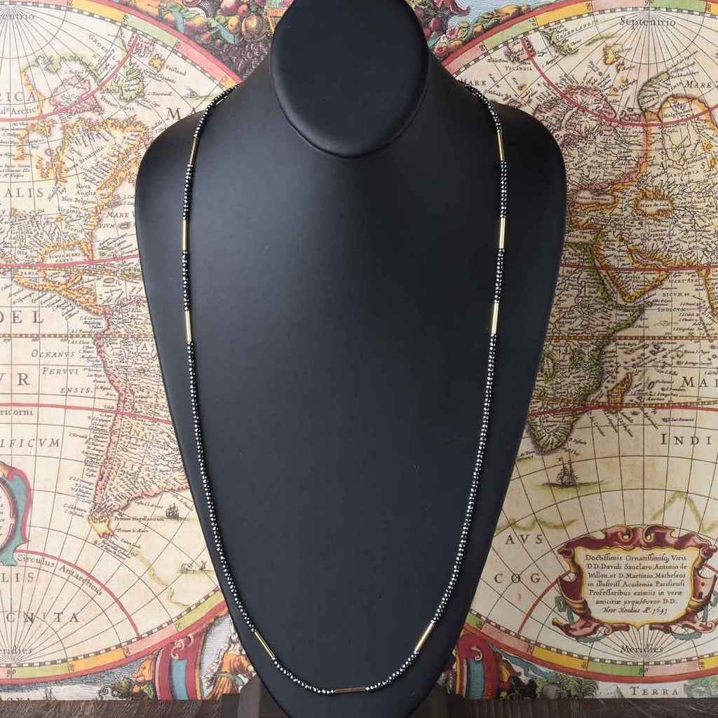 "36"" Hematite Necklace with Bar Stations"
