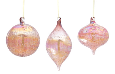 Set of 3 Large Soft Pink Iridescent Translucent Glass Ornaments