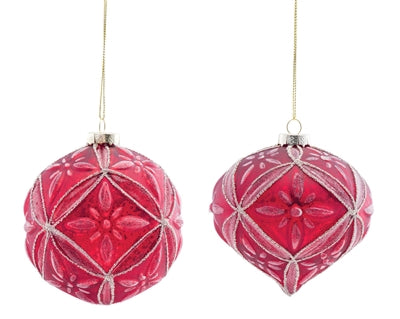 Set of 4 Red Detailed Ball and Onion Ornaments