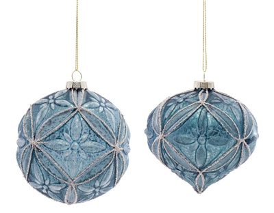 Blue Detailed Ball and Onion Ornaments