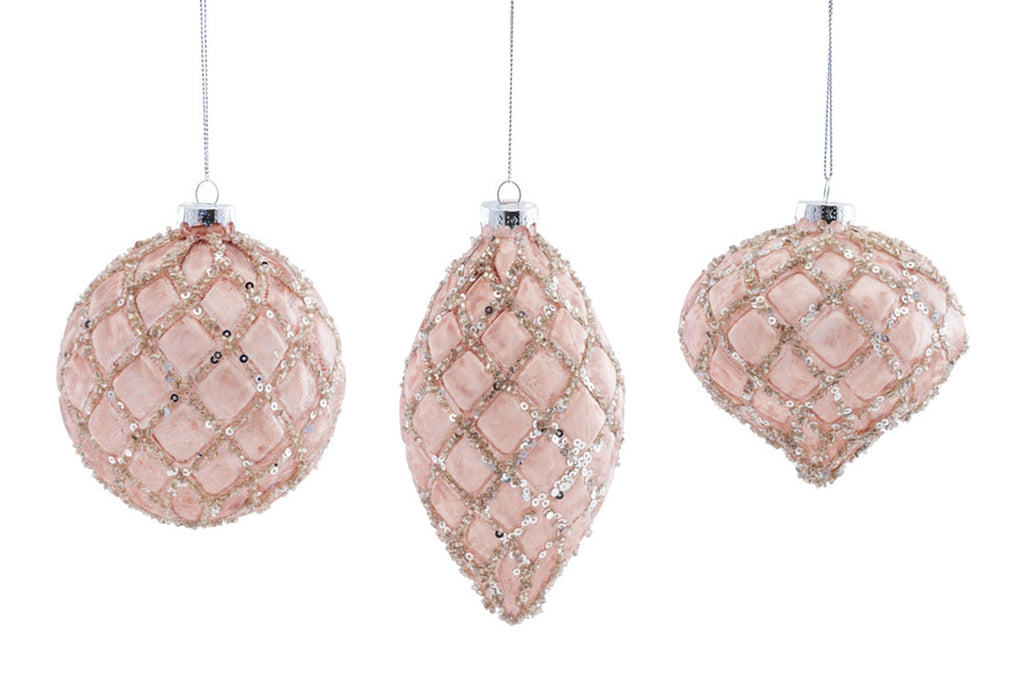 Large Pink Sequin Diamond Design Ornaments