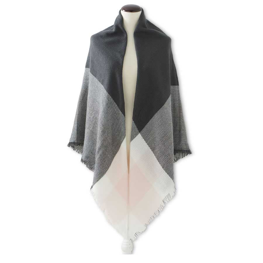 Pink, White, and Grey Oversized Scarf and Wrap
