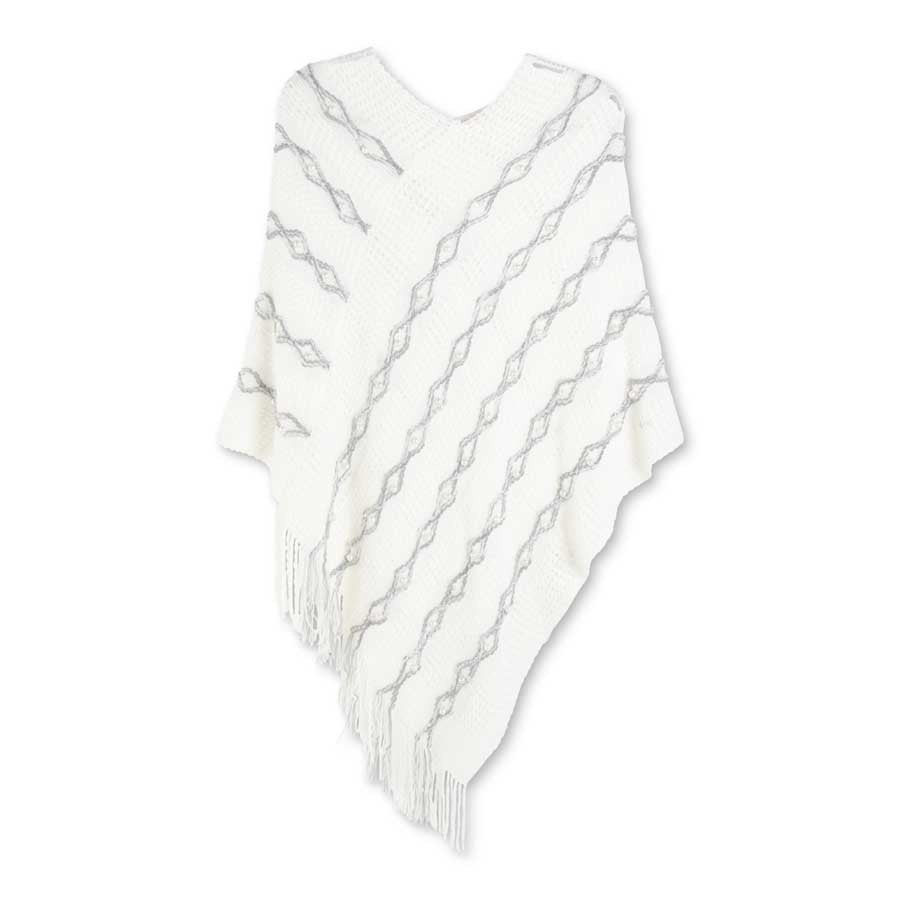 Winter White Poncho with Pearl Accents