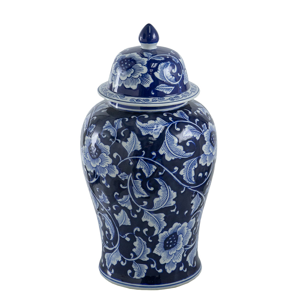 Grand Dark Blue and White Ginger Jar