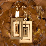 Bronze Rectangular Dangle Earrings