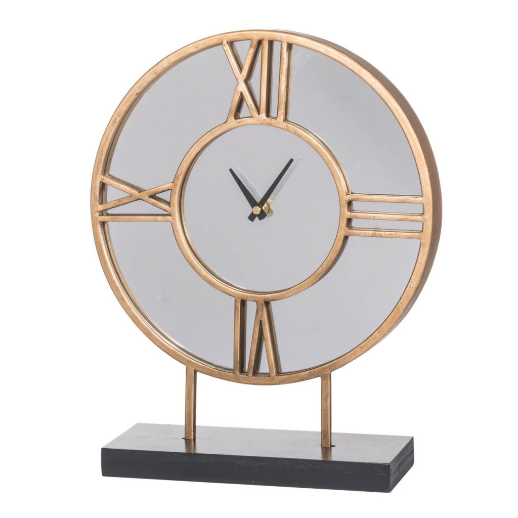 Mirrored Table Clock With Stand