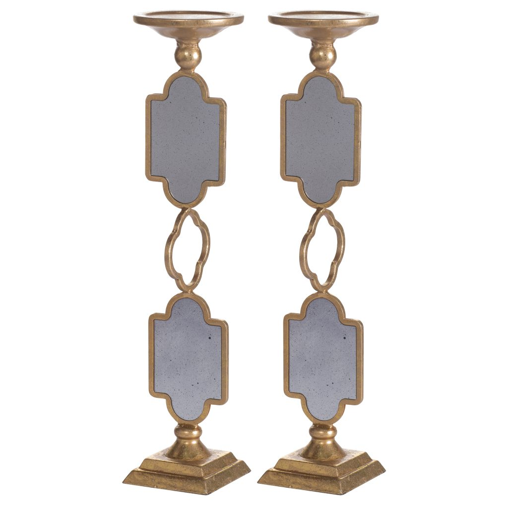 Set of 2 Gold Mirrored Candle Holders