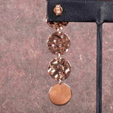 Italian Hammered and Polished Circle Drop Earrings