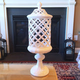 White Ceramic Filigree Footed Canister
