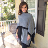 Double Layer Reversible Two-Tone Cashmere Ruana