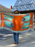 Orange and Jade Couture Inspired Status Wrap