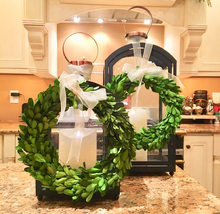 Set of 2 Preserved Boxwood Wreaths