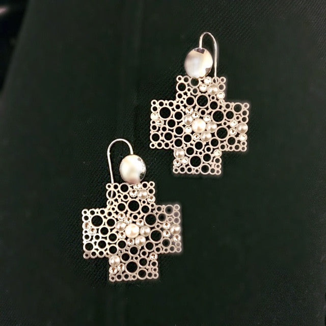 Arezzo Pearl and Crystal Accent Cross Earrings