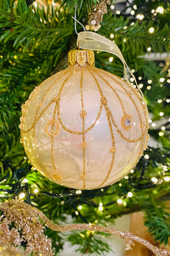 Shiny Pearl Glitter Lines European Glass Ornaments