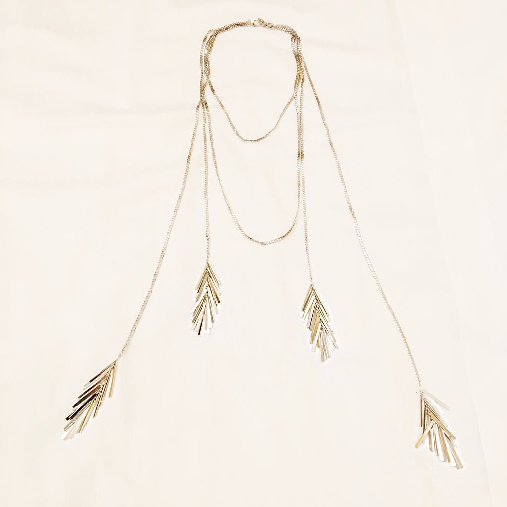 Fireworks Layered Chain and Tassel Necklace