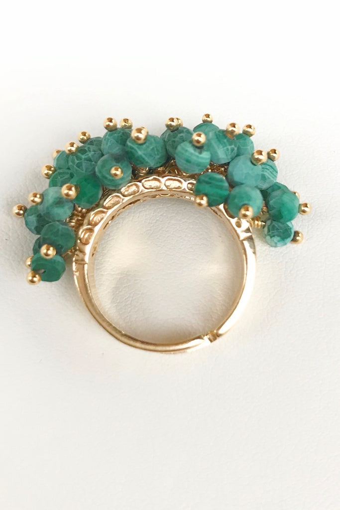 Florence Exotic Malachite Bead Cluster Ring