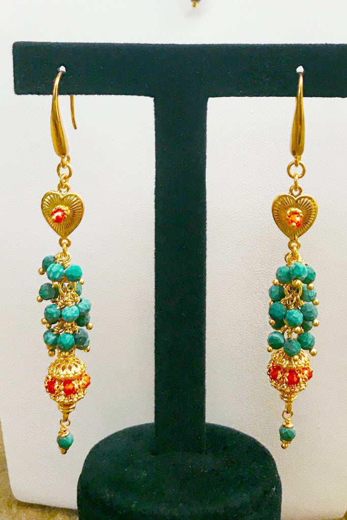 Florence Exotic Malachite Drop Earrings