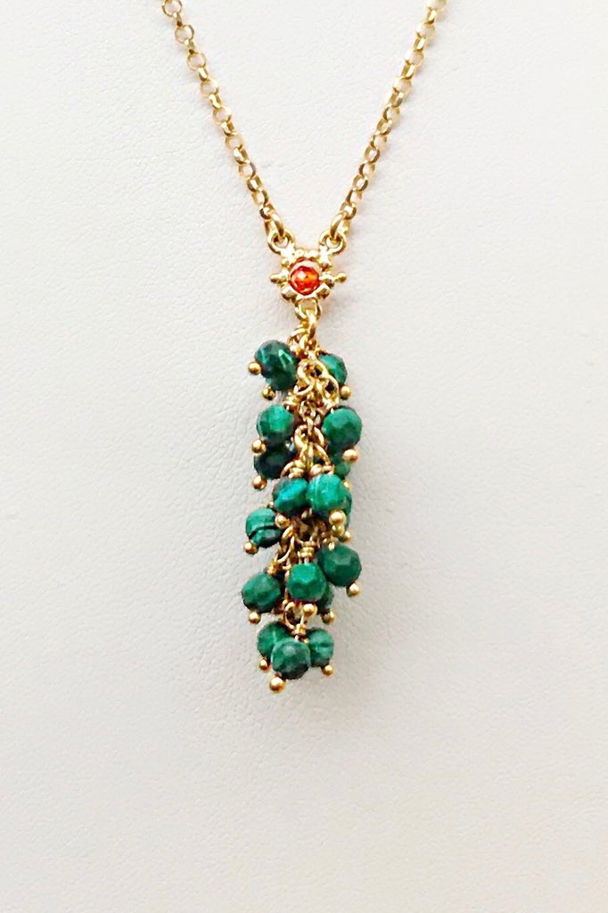 Florence Exotic Malachite Cluster Necklace