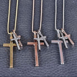 New Italian Triple Cross Necklace