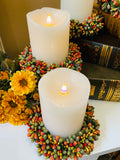 Set of 4 Beaded Berry Candle Rings