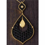Moroccan Carved Ebony Pendant and Chain