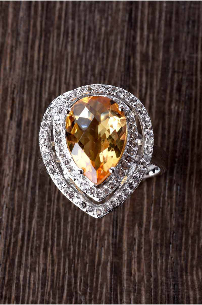Pear Shape Citrine and White Topaz Ring