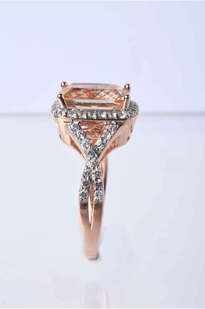 Radiant Cut Morganite and Zircon Ring