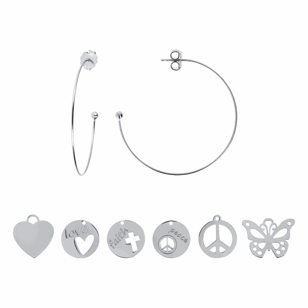 Hoop Earrings with 6 Pairs of Charms