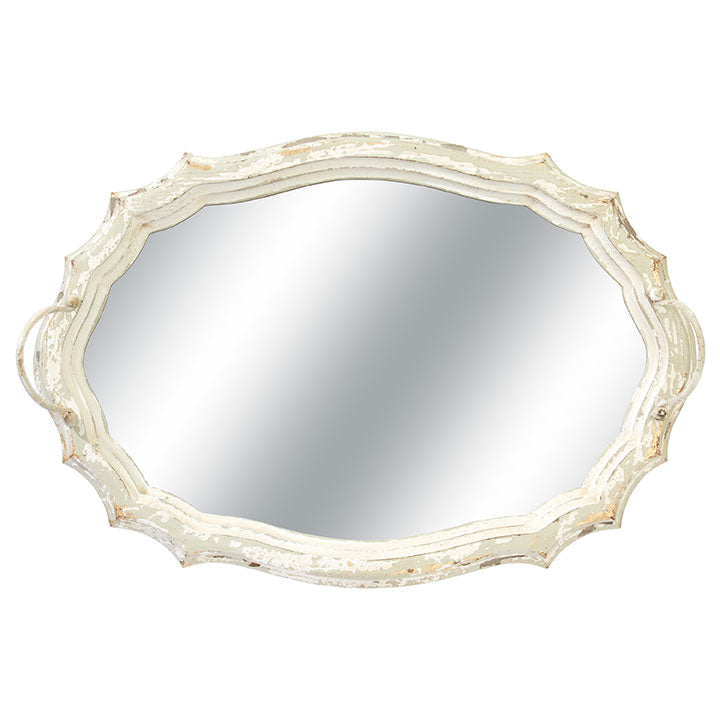 Antiqued White Washed Mirrored Tray