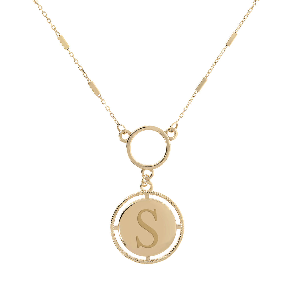 Italian Engraved Initial Necklace