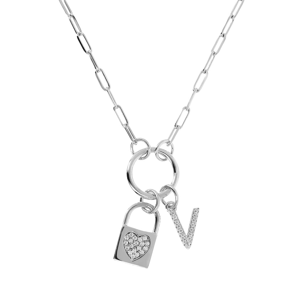 Italian Pave Initial and Padlock Necklace