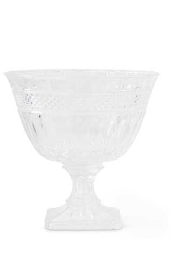 Look of Crystal Glass Footed Bowl