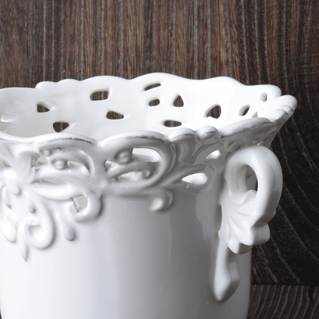 Set of 2 Round White Ceramic Jars with Lace Detail
