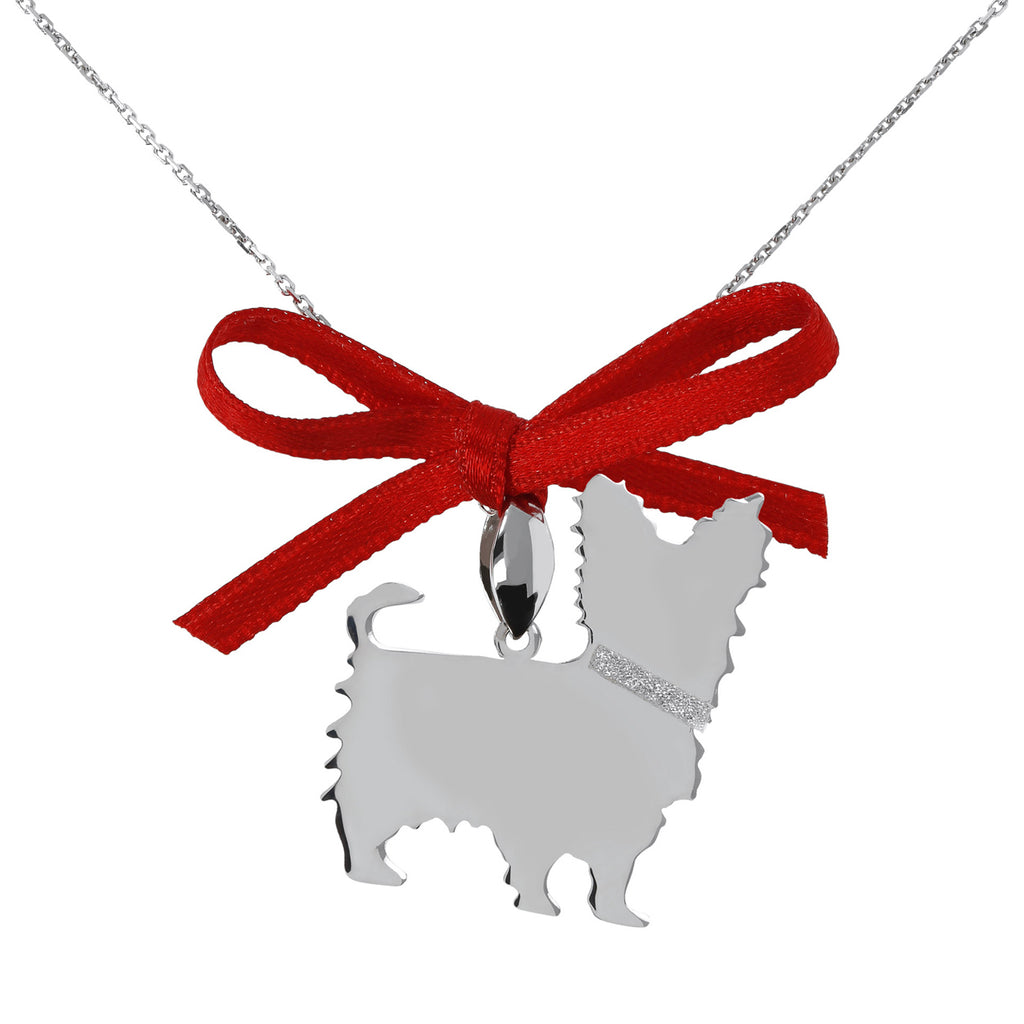 Dog Pendant with Glitter and Ribbon