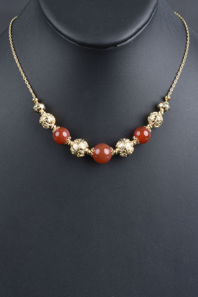 Italian Handmade Gemstone and Ornate Bead Necklace, Adjustable