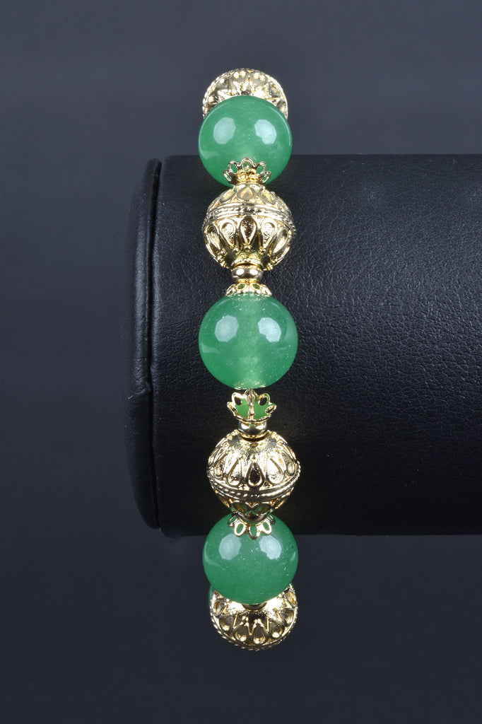 Italian Handmade Gemstone and Ornate Bead Bracelet, Adjustable