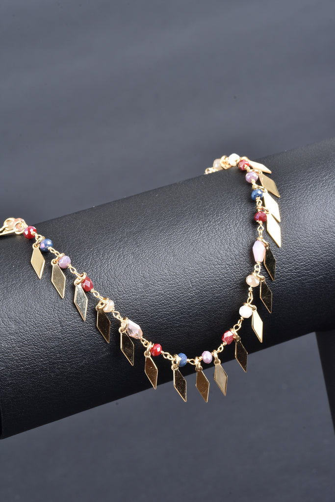 Italian Handmade Fringe Diamond Shape Ankle Bracelet with Gemstones