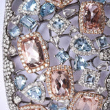 Aquamarine, Morganite, and Diamond Cuff, 57.55g 18K