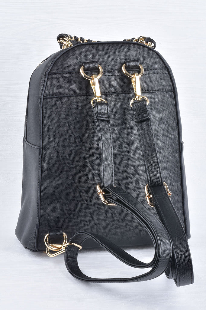 Black and Gold Studded Backpack