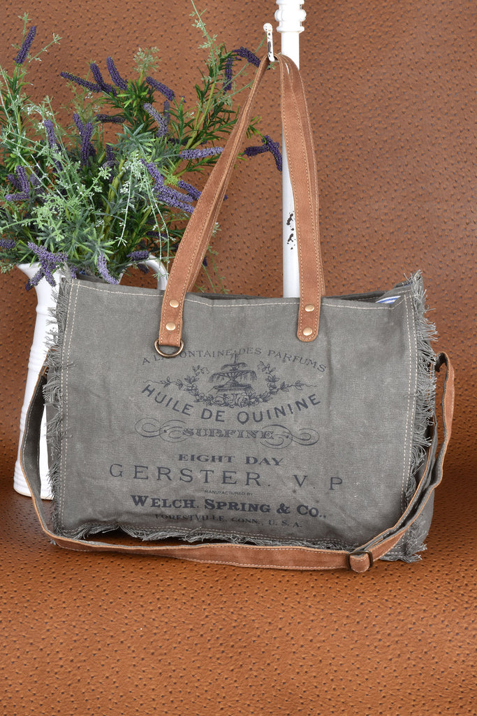 Canvas and Leather Military Inspired Weekender Bag