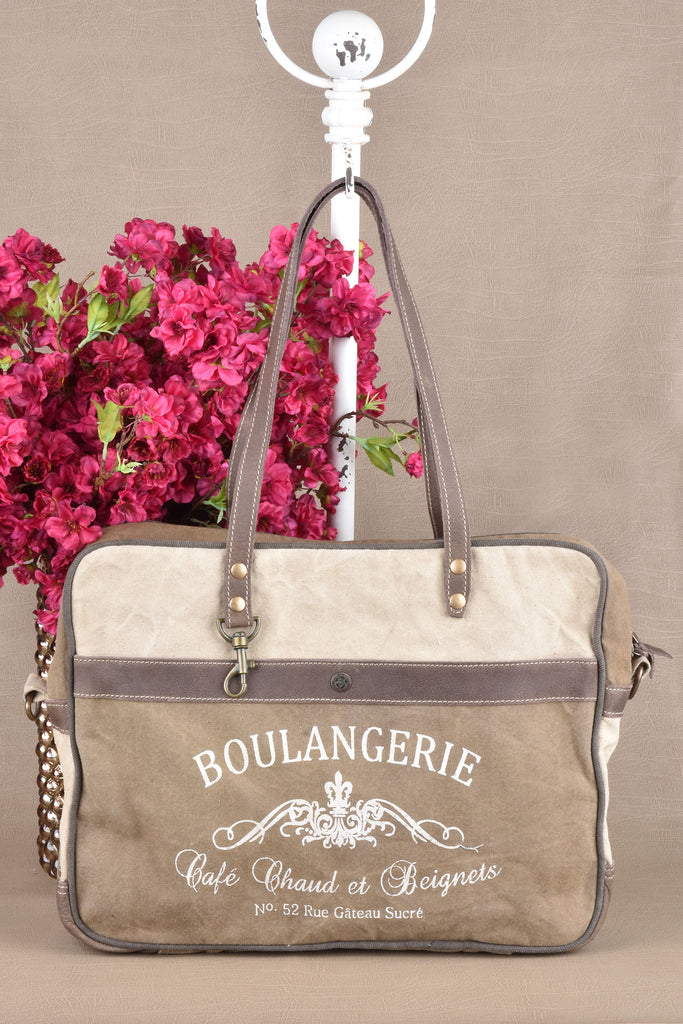 Boulangerie Leather and Canvas Messenger Bag