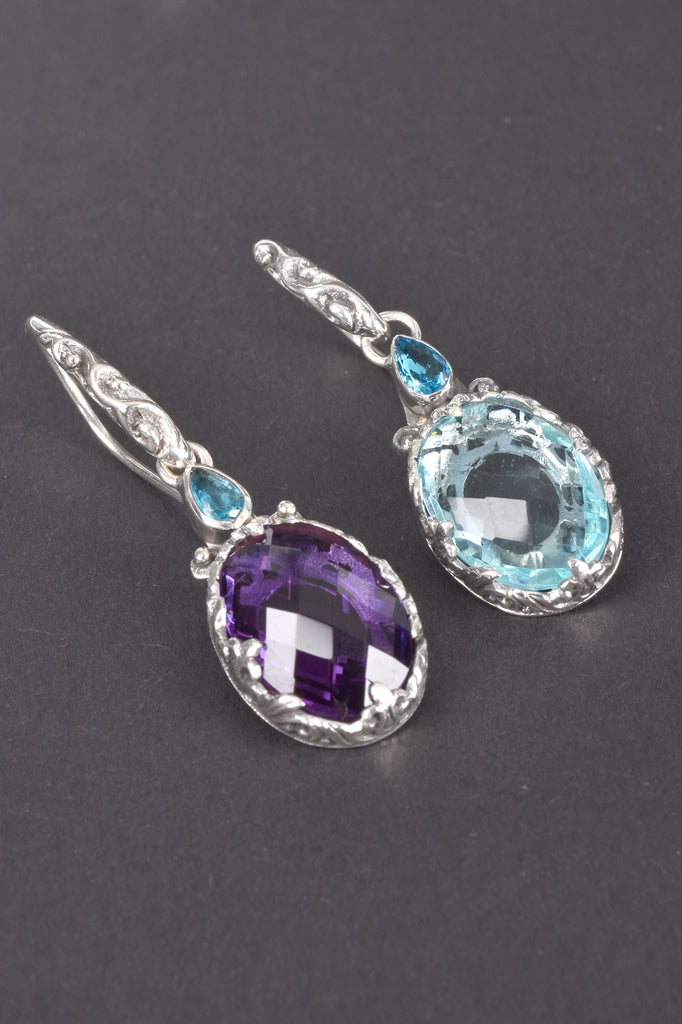 Handmade Bali Silver Fancy Cut Oval Gemstone Earrings