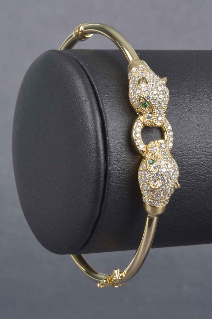 Italian Pave Panther Bangle Bracelet